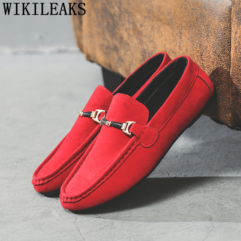 Red Shoes Loafers Moccasins Men Slip On Shoes Men Fashion Mens Casual Shoes Hot Sale Mocassim Masculino Adulto Макасины Мужские
