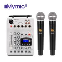 iiiMymic Audio DJ Mixer KTV Microphone Mono USB AUX Input 2 Channel Handheld UHF Wireless Microphone 48V Phantom Power For KTV