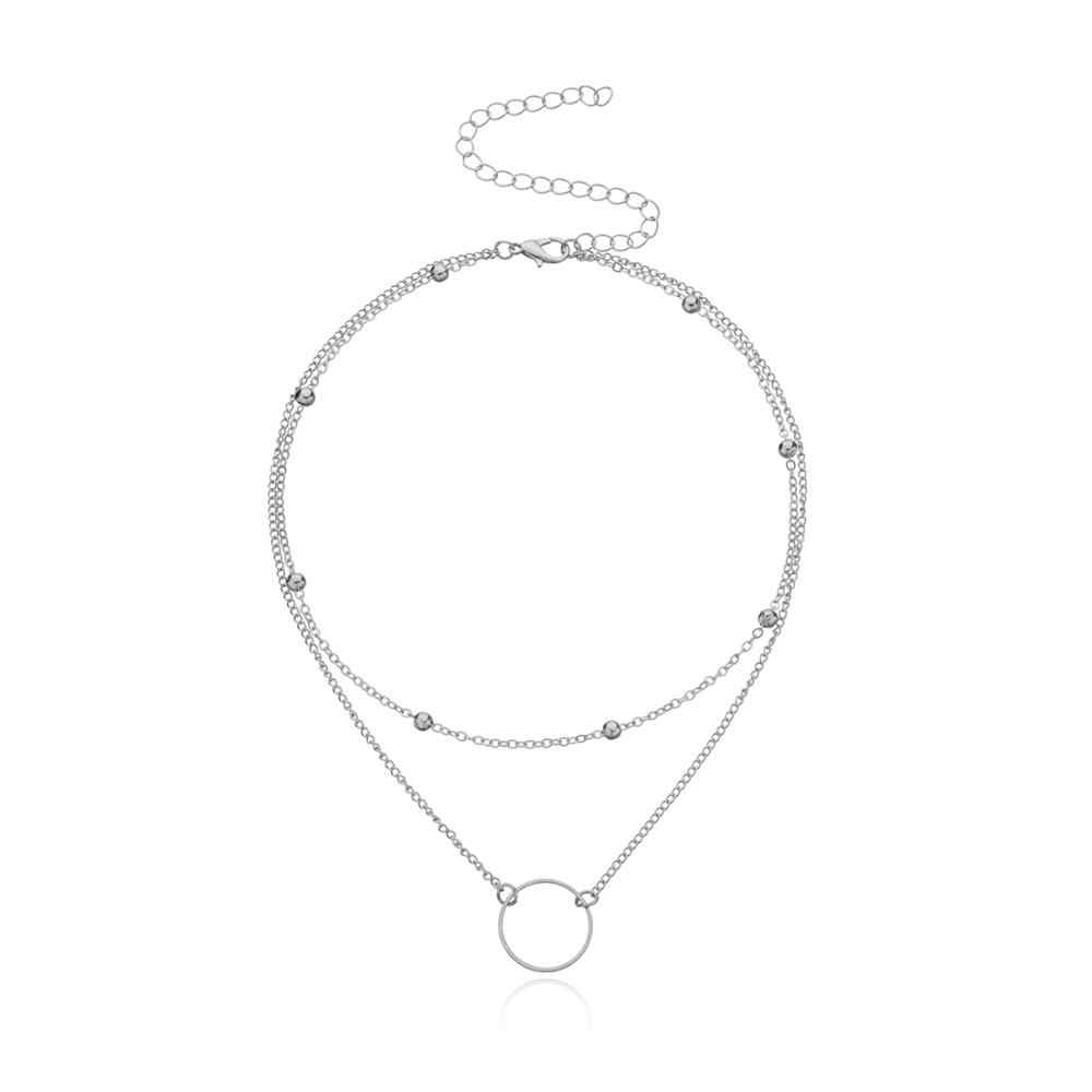 Moderne Choker Ketting Vrouwen Twee Lagen Ronde Kettingen Goud Kleur Ketting Choker Hals Mode-sieraden