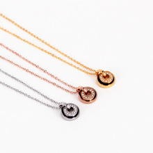Rose Gold Pendant Necklace Women Round Pendant Link Chain Stainless Steel Jewelry Female Vintage недорого