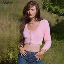 Nibber-Cardigan poilu pour femmes, pull en laine douce, romantique, hauts, élégant, automne décontracté Ysk Top, nouvelle collection 2020