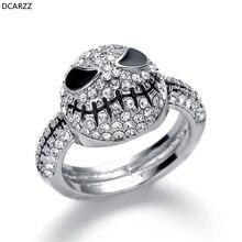 Размер 6-12 серебряное кольцо с кристаллами Джек череп мужские черные кольца Кошмар перед подарок на Рождество, Хэллоуин женские вечерние ювелирные изделия для свадьбы