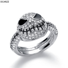 Size 6-12 Crystals Jack Skull Silver Ring Men Black Rings Nightmare Before Christmas Halloween Gift Women Party Wedding Jewelry(China)