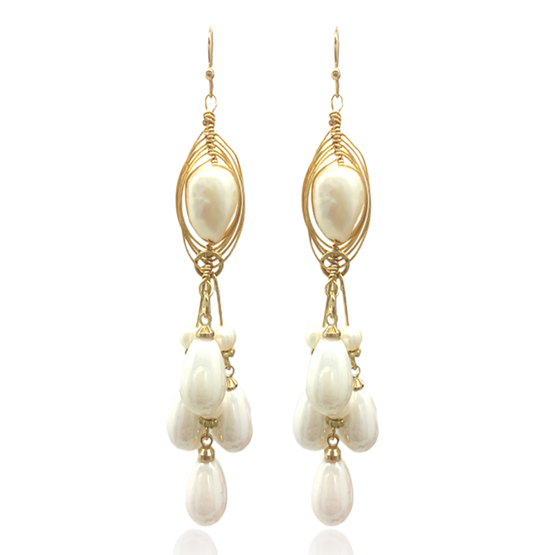 Earrings new ladies handmade natural pearl fashion brand alloy Boucles d 39 oreilles ear oorbellen direct Christmas gift 2019 in Drop Earrings from Jewelry amp Accessories