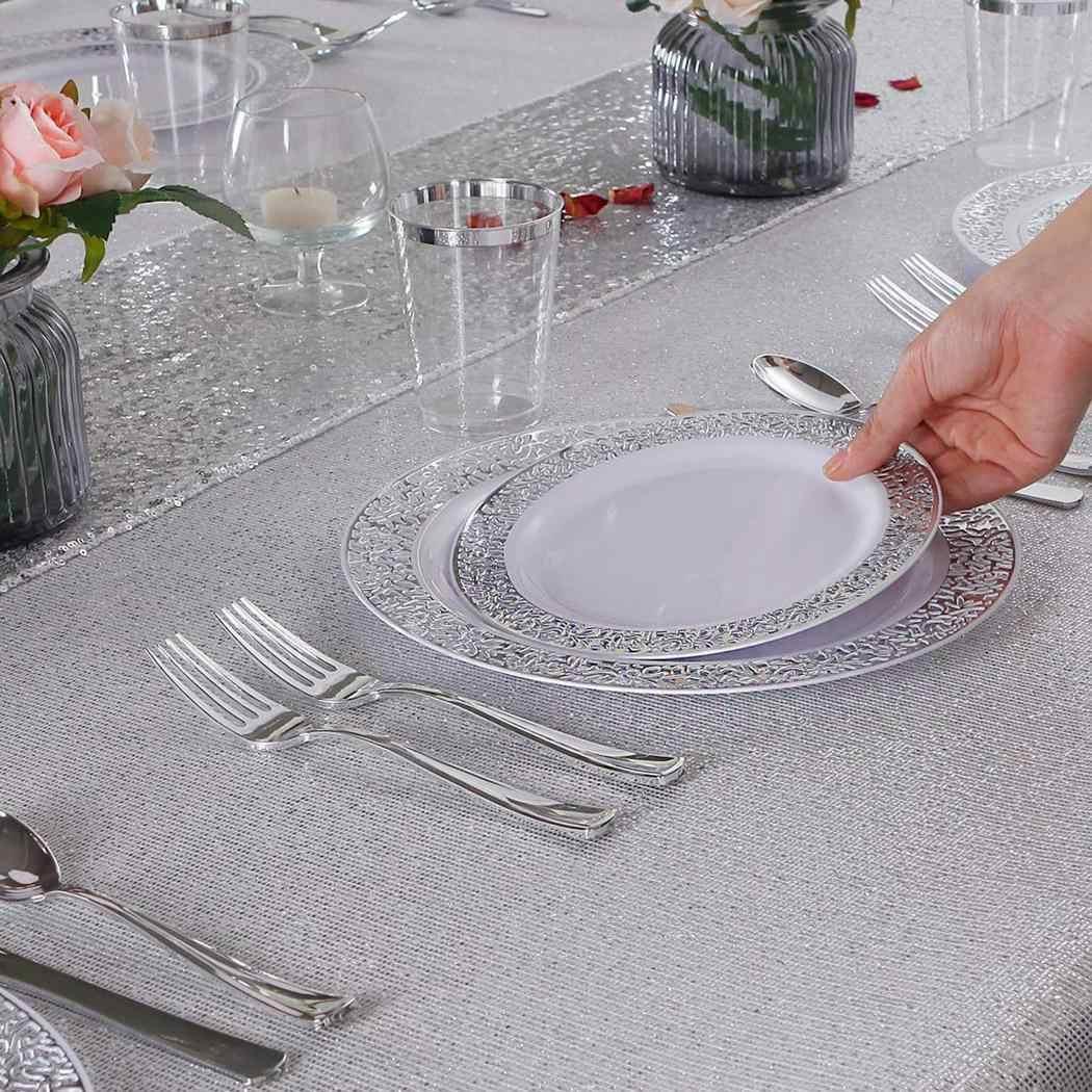 Modern Home Supplies PARTY ทนทาน Hollow Wedding PARTY Disposable แผ่นทอง,Rose Gold, 3pcs X 6pcs x บนโต๊ะอาหาร
