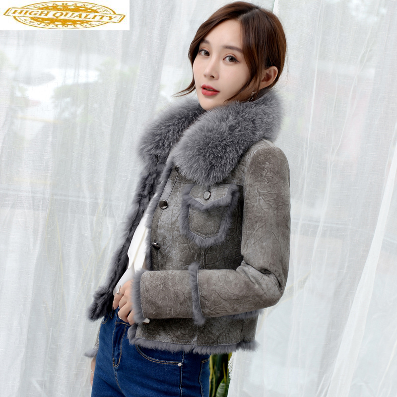 Double Faced Fur Coat Female Fox Fur Collar Natural Rabbit Fur Coats 2020 Winter Jacket Women Genuine Leather Jacket MY