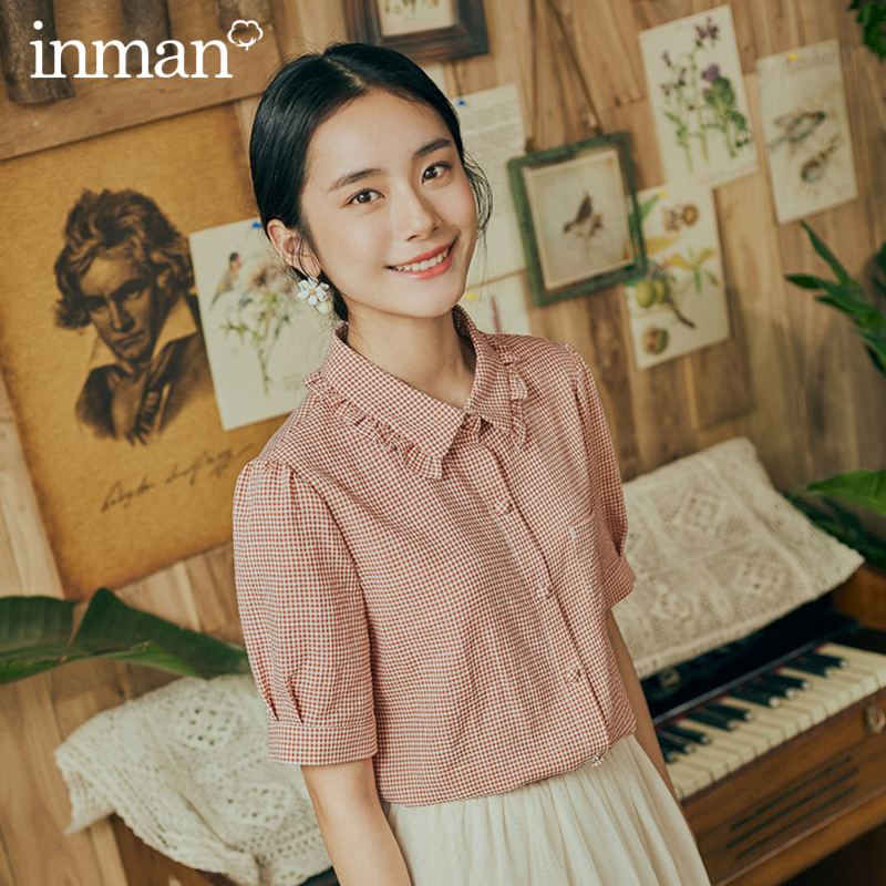 INMAN Retro Style 2020 Summer New Arrival Plaid Lapel Puff Sleeve Girlish Blouse