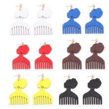 SexeMara Printing Afro Comb Wood Drop Earrings African Woman Headwrap Tribe Bohemian Jewelry 6 Colors for Blacks' Gifts 1 Pair