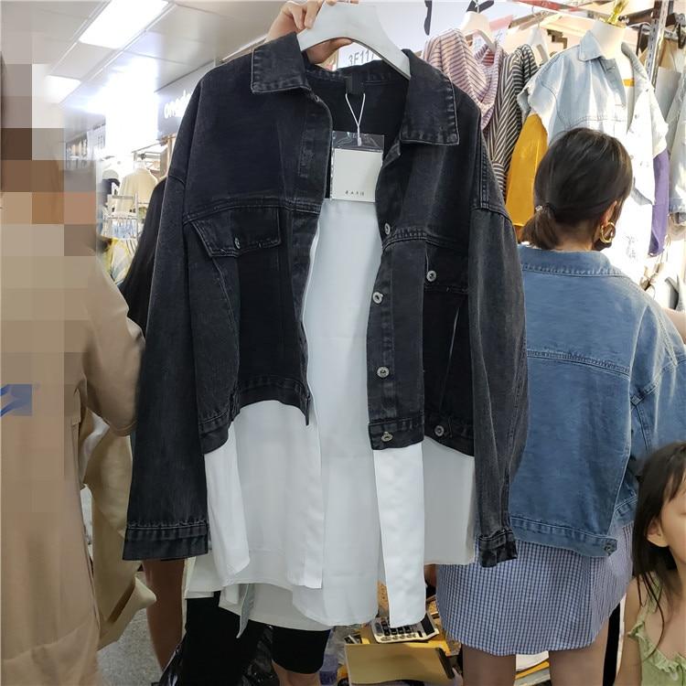 Harajuku BF style femmes faux deux-pièces veste en jean ample chemise blanche patchwork tendance streetwear vestes en jean