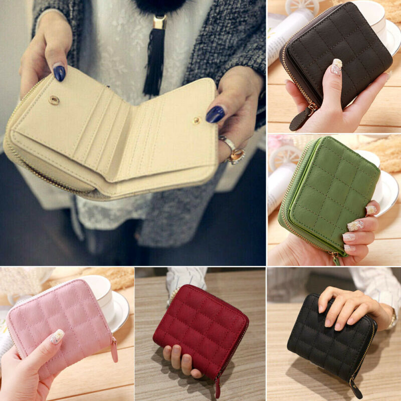 New Arrival Women Ladies Faux Leather Zip Coin Purse Clutch Handbag Small Mini Card Holder Multi-Color Fashion Coin Purse
