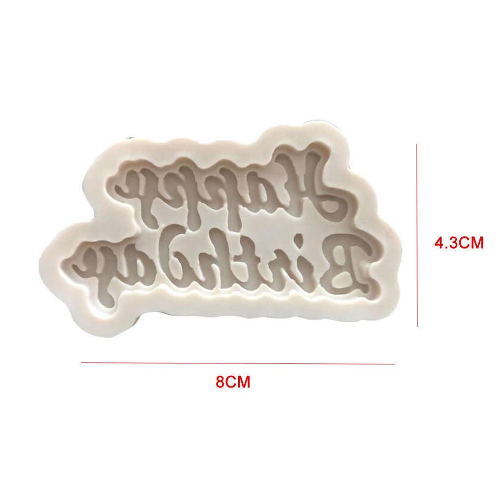 FenKicyen nueva marca de silicona 3D molde para tarta para cumpleaños letras lindas hielo gelatina y chocolate molde para tarta de cumpleaños molde decorativo