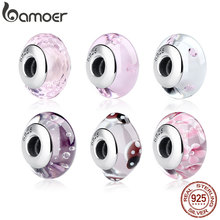 BAMOER 925 Sterling Silver Lovely Pink Flower European Murano Glass Beads Charms for DIY Bracelets Christmas DEAL SCZ001