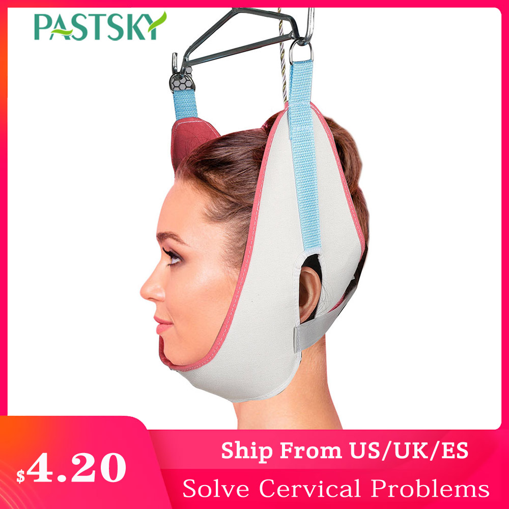Adjustable Sling Cervical Traction Belt White Breathable Canvas Tractor Stretch Hood Neck Care Correction House Medical Equipmen(China)