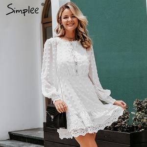Image 4 - Simplee vestido de encaje de manga larga para otoño, elegante, bordado de lunares, Delgado
