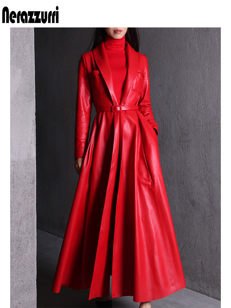 Nerazzurri high quality red black maxi leather trench coat for women long sleeve extra long skirted overcoat plus size fashion Leather Jackets  - AliExpress