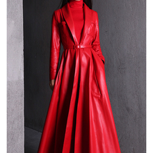 Nerazzurri high quality red black maxi leather trench coat for women long sleeve extra long skirted overcoat plus size fashion