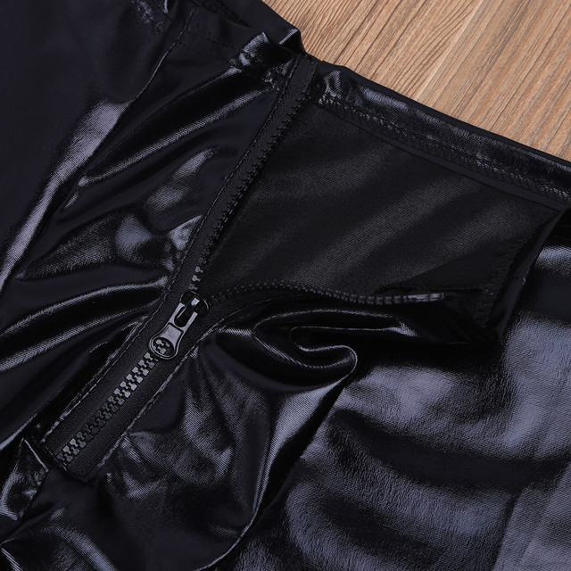 Mens Black Glossy Patent Leather Front Zipper Bulge Pouch Legging Pants Sexy Low Rise Elastic Waistband Slim Fit Long Trousers 6