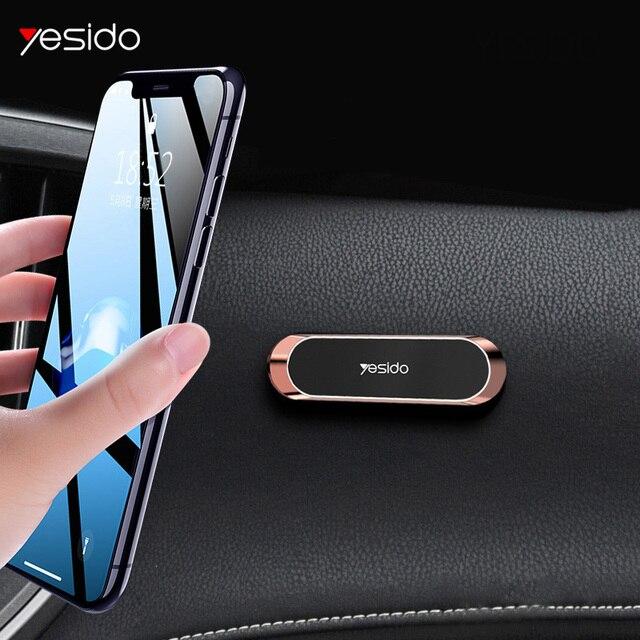 Yesido Mini magnetyczny uchwyt samochodowy na telefon pasek kształt stojak na iPhone Samsung Xiaomi huawei metalowy magnes GPS do montażu na desce rozdzielczej samochodu