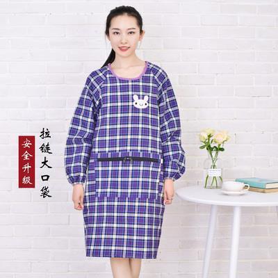 Upside down Clothes Adults Kitchen Long Sleeve Pure Cotton Apron Women's Korean style Fashion Adult Overclothes Work Clothes Adu|Oversleeves| |  - title=