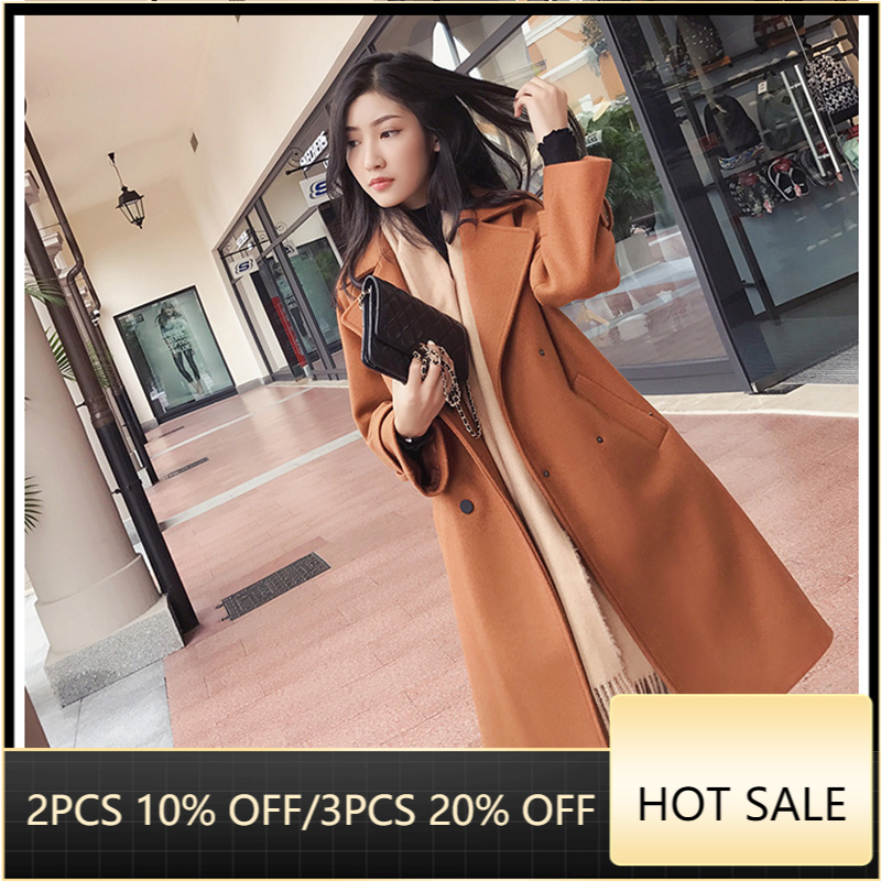 Mishow 2019 autumn and winter woolen coat female Mid Long New Korean temperament women's popular woolen coat MX17D9636|Wool & Blends| - AliExpress