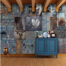 цены Large 3D Wallpaper Mural Custom Retro Rusty Tin Bar KTV Tooling Background, wallpaper, mural
