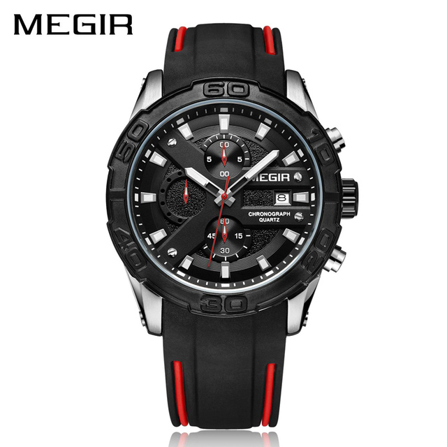 MEGIR Fashion Sport Men Watch Relogio Masculino Brand Silicone Army Military Watches Clock Men Chronograph Quartz Wrist Watch | Fotoflaco.net