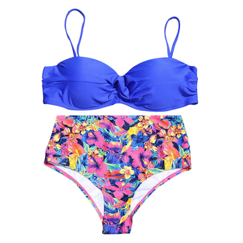 funfeliz high waisted swimsuit for women vintage dot two pieces swimwear ruffle bikini set female swimming suit sexy tankini Swimwear Women Printed Sexy Bikini Set High-waisted Bathing Suit Separated Two Pieces Push Up Bikini Women's Beachwear Swimsuit