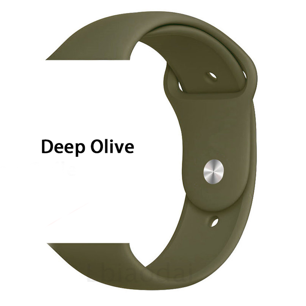 Ремешок для Apple Watch 38 мм 42 мм iWatch 4 ремешка 44 мм 40 мм спортивный силиконовый ремень браслет Apple watch 5 4 3 2 Аксессуары для ремешка - Цвет ремешка: Dark Olive