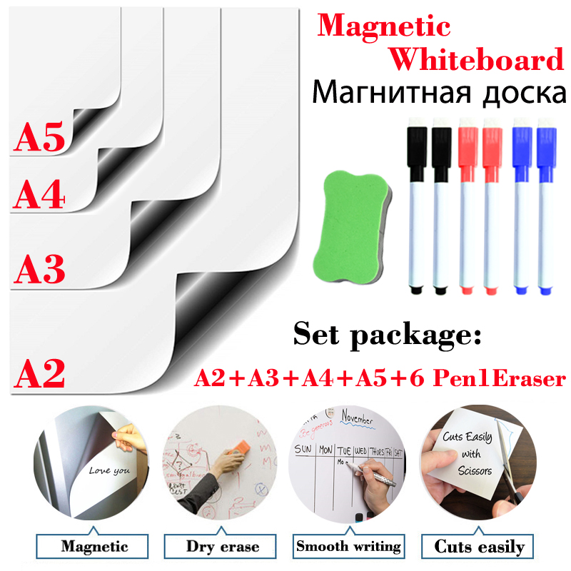 4 Pcs Teaching Stationery Magnetic Whiteboard Dry Erase White Board Office Kitchen Fridge Sticker Kids Drawing Message Board