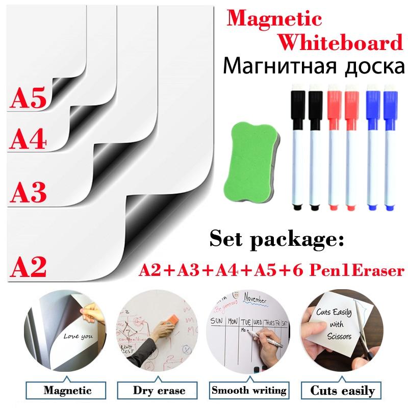 4 Pcs Teaching Stationery Magnetic Whiteboard Dry Erase White Board Office Kitchen Fridge Sticker Kids Drawing Message Board