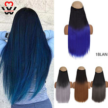 Hairpieces Fake-Hair Clip-In Natural-Black Synthetic Straight Long Ombre To Grey 5 MANWEI