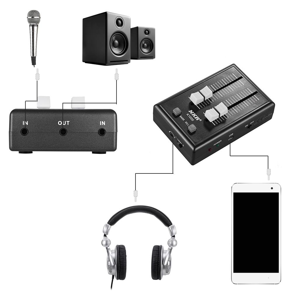 K1000 Professionelle Mini Handy Audio Sound Mixer Tasche Mixer 3,5mm Schnittstellen mit Power Adapter