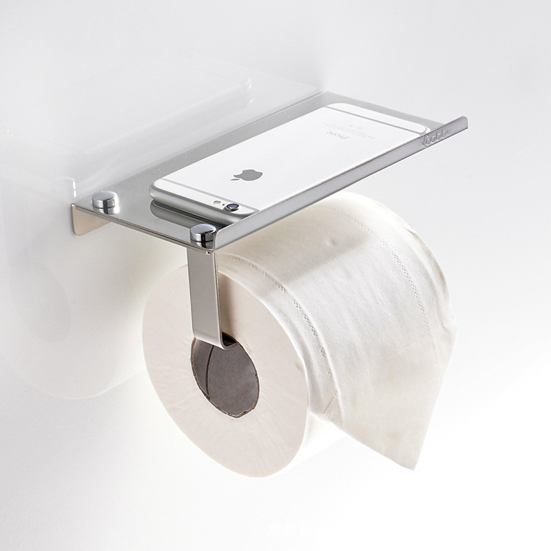 Stainless Bathroom Toilet Paper Holder With Phone Rack
