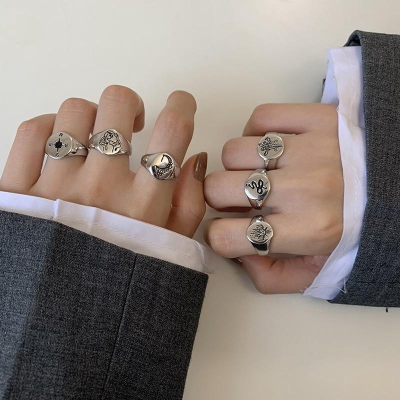 Morivovog 925 en argent Sterling 6 Style rétro motif sculpté anneau pour les femmes Original créatif lune fleur anneaux Designers bijoux