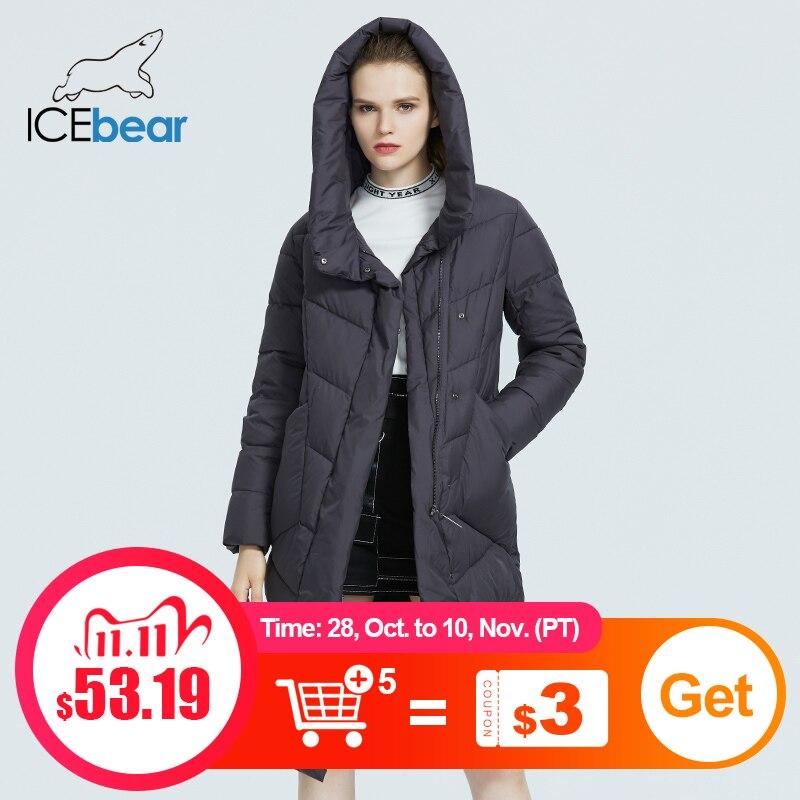 ICEbear 2020 Новая куртка с капюшоном для женщин Повседневная зима сгущает хлопок Одежда Модный бренд женской одежды GWD20127D|Парки| | АлиЭкспресс