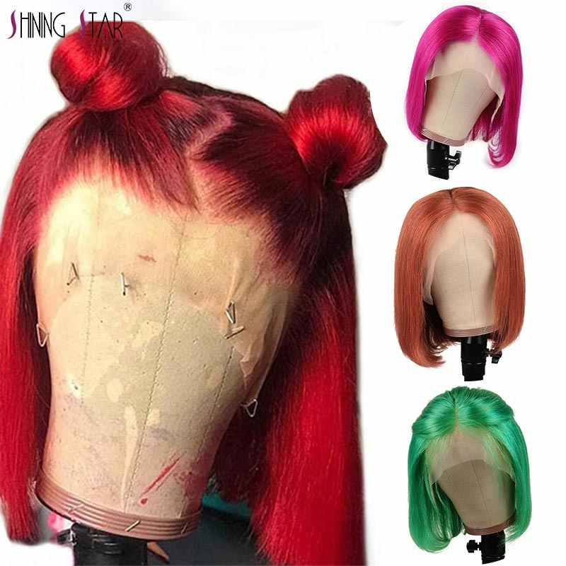 Pre-Colored 350 Red Lace Front Human Hair Wigs Brazilian Human Hair Red Bob Wigs Shining Star Straight Nonremy Hair Re-Plucked