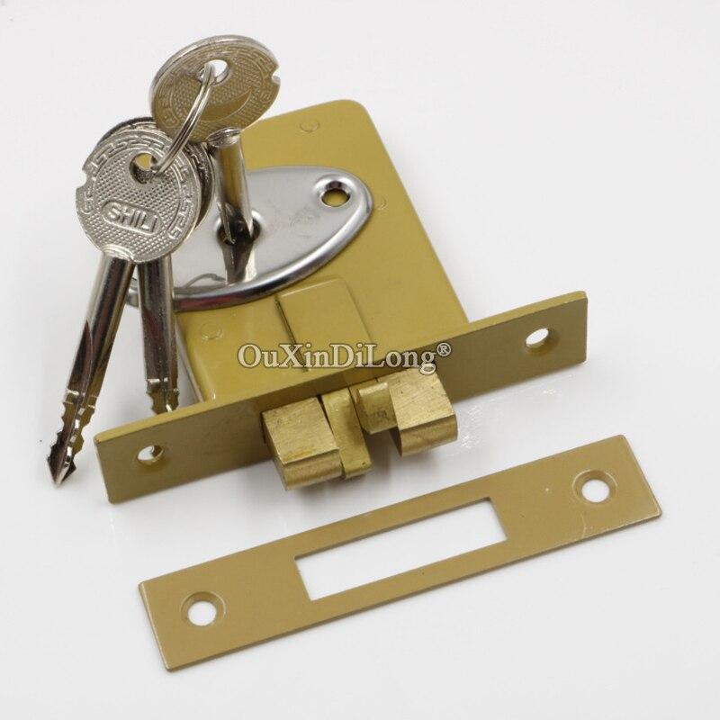 Brand New 2PCS European Sliding Door Hook Locks Invisible Hidden Mortise Door Locks Security Anti-theft Door Lock w Keys