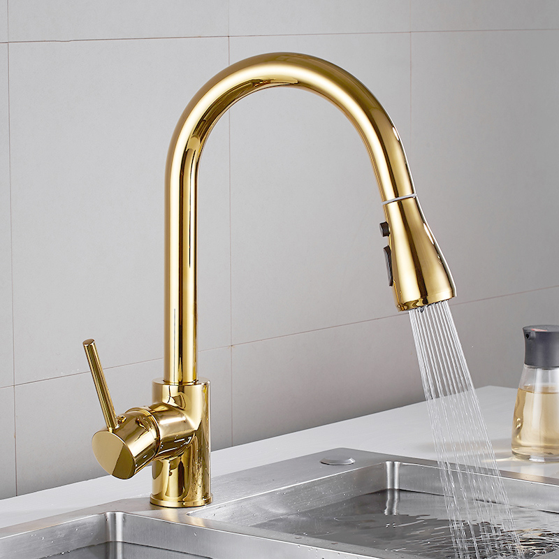 Pull Out Kitchen Faucet Gold/Nickel Sink Mixer Tap 360 Degree Kitchen Faucet Rotation Torneira Cozinha Mixer Tap Kitchen Tap New
