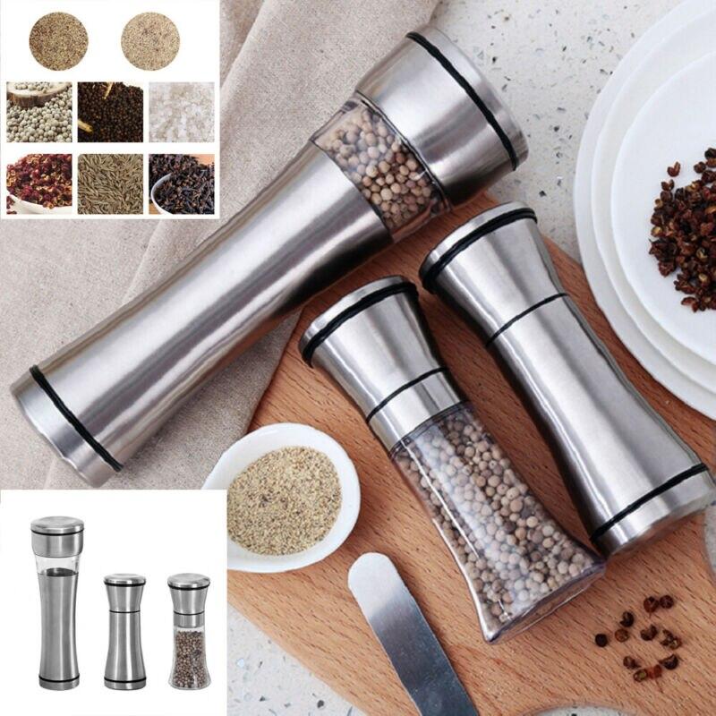 In Acciaio Inox Sale Manuale e Pepper Mill Grinder Spice Utensili Da Cucina Accessori per la Cottura Finether Pepe Smerigliatrice