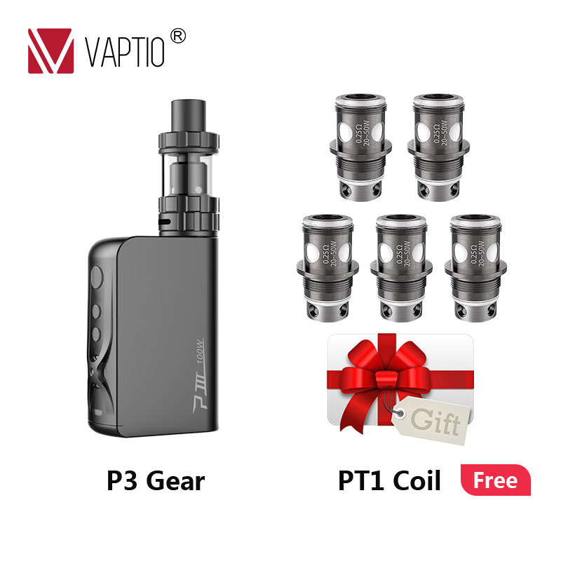 Vappreço especial vapvaptio p3gear vape kit com 100 w built-in bateria 3000 mah mod 2.0ml tanque