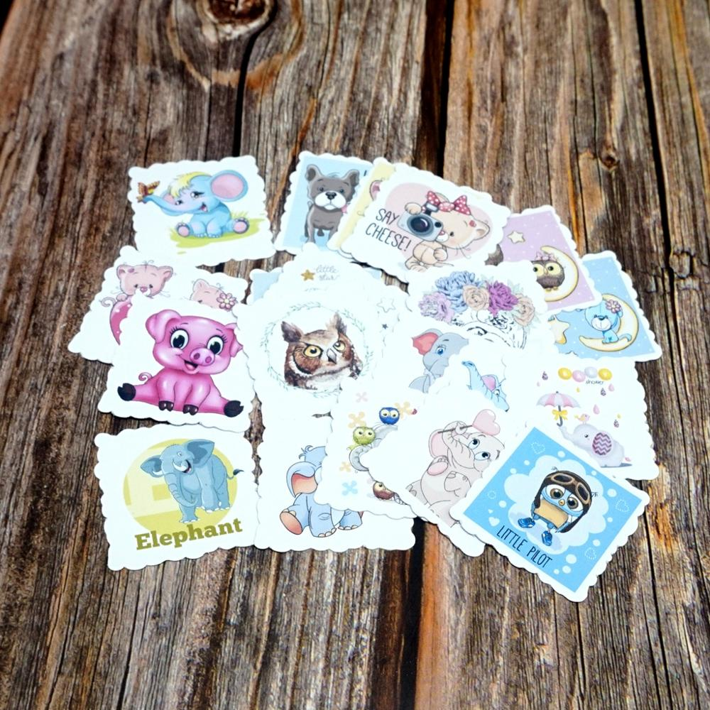22PCS Cartoon Waterproof Stickers DIY Diary Cute Animals Stickers Laptop Phones Guitars Kids Children Girls Gift Stickers Toy