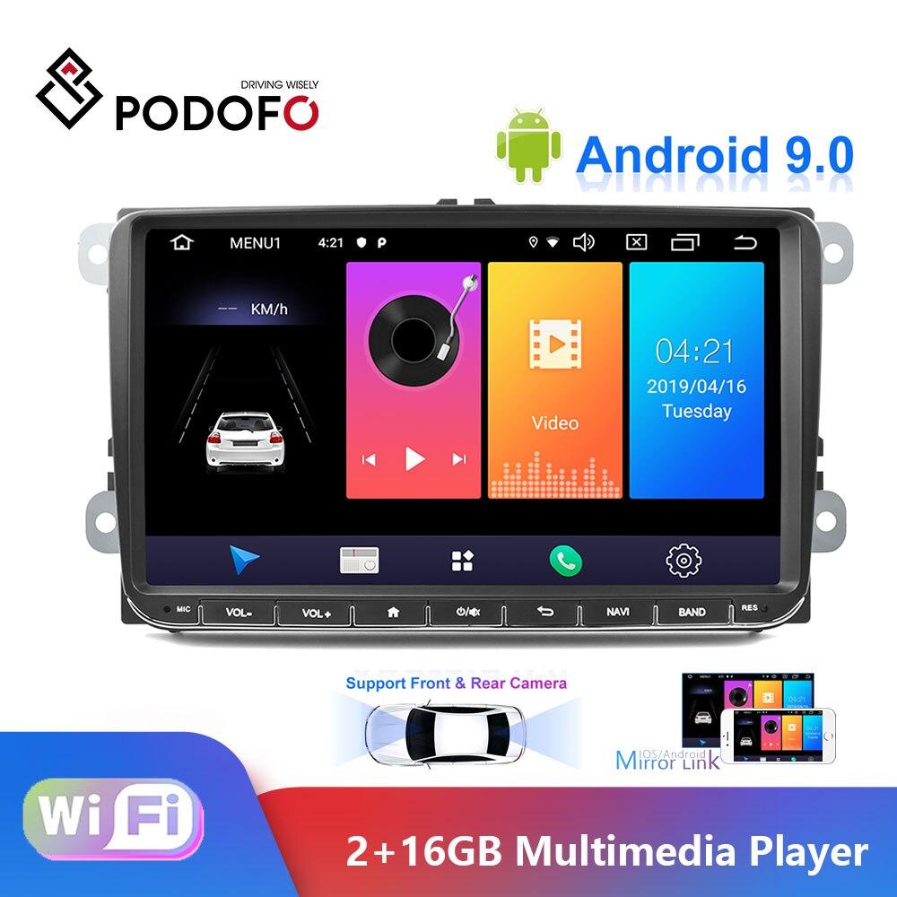 Podofo Android 9.0 samochodowe radio stereo 9 ''pojemnościowy ekran dotykowy nawigacja gps z bluetooth 2G + 16G pamięci dla Passat Golf MK5 MK6