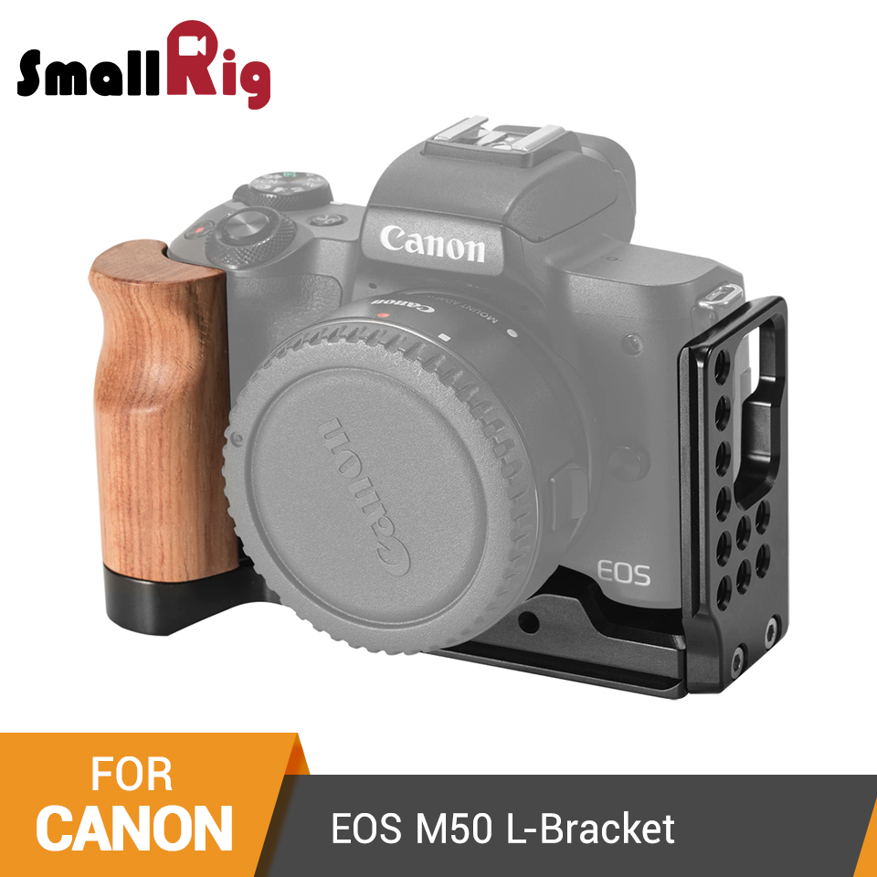 SmallRig L Plate For Canon EOS M50 L Shaped Mounting Plate Quick Release L Bracket Plate With Wooden Handle - 2387