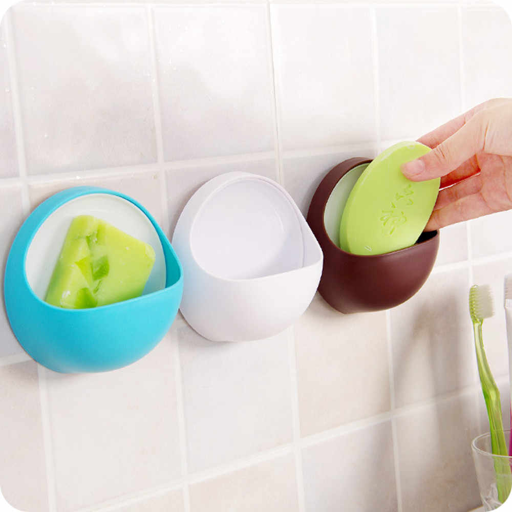 Di Aspirazione in plastica Tazza di Sapone Spazzolino Da Denti Box Dish Holder Bagno Doccia Accessorio Rotondo Scaffale Cucina di Casa Mini Piccolo di Plastica Cremagliera