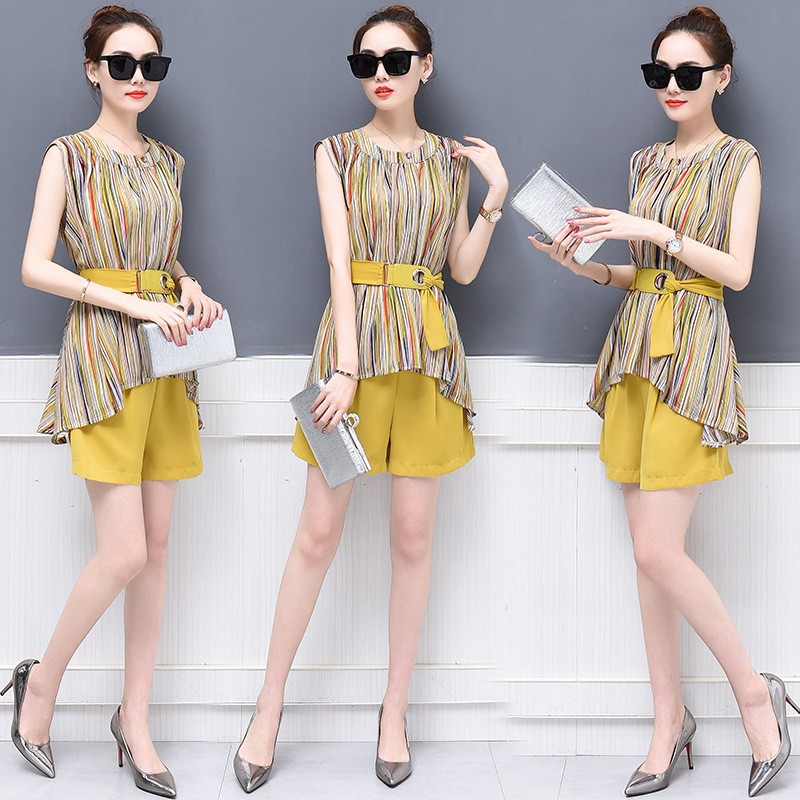 2018 Summer New Style Korean-style Fashion Goddess Ocean Elegant Tops With Shorts Chiffon Two-Piece Set Fashion