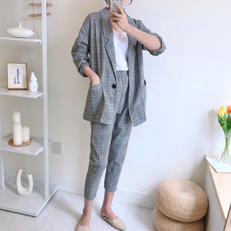 2020 Spring And Autumn New Women's Two-piece Set Korean Fashion Plaid Loose Long-sleeved Suit + Ankle-length Pants 2 Piece Sets