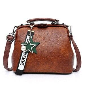 Image 1 - Vintage Small Pu Leather Crossbody Bags for Women Fashion Pendant Design Shoulder Handbag Trending Female Top Handle Tote