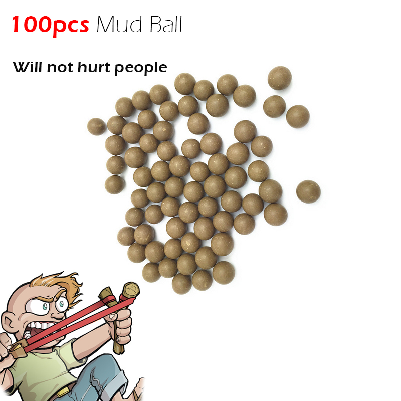 100Pcs/bag Mud Ball Powerful Outdoor Self Defense Pocket Shot Slingshot Round Ball Game Toy Shooting Cup Device Hunting