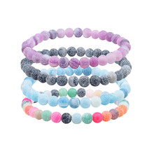 6mm Colorful Weathering Beads Natural Stone Bracelet Elastic Distance Couple Bracelets For Women Men Friendship Jewelry Pulseras(China)