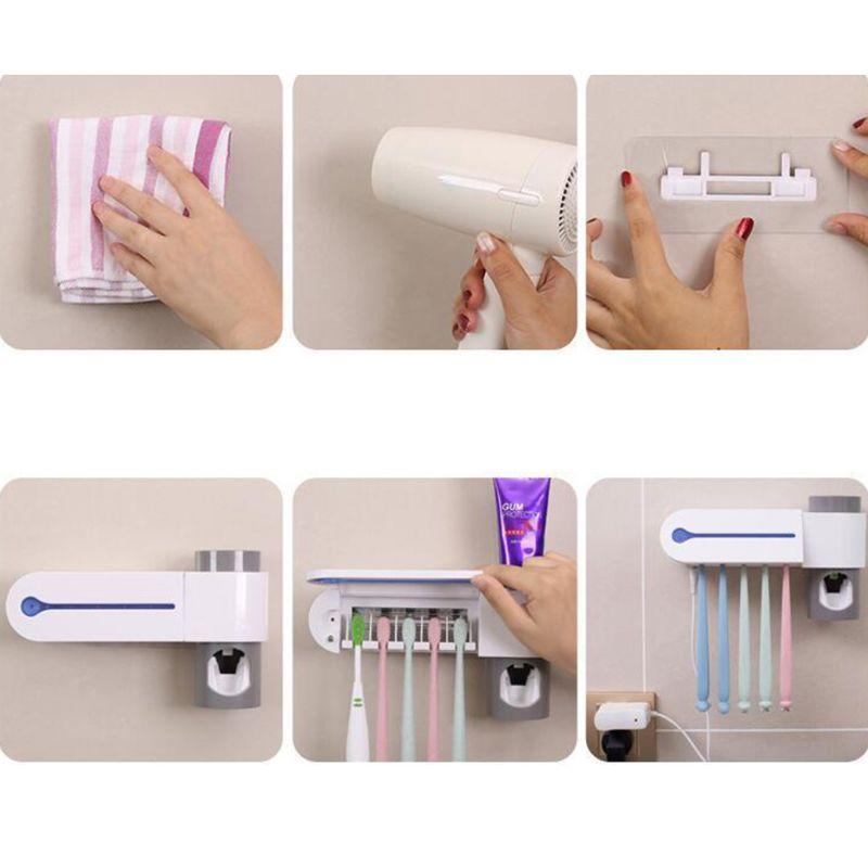 2 в 1 УФ светильник дезинфицирующий стерилизатор зубной щетки с автоматическим держателем зубной пасты - 6
